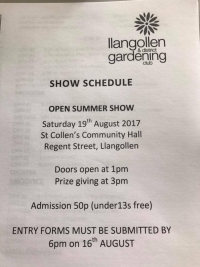 Llangollen & District Gardening Club Annual Show